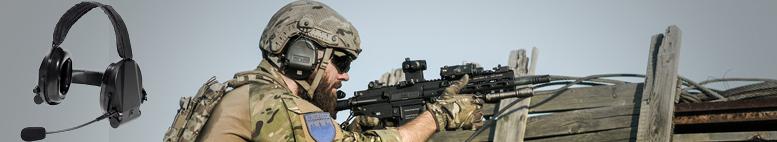 Příslušenství pro taktické jednotky, nebo komunikaci v hlučném prostředí.